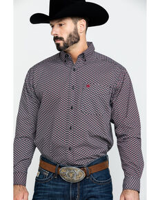 Ariat Men's Dalporto Geo Print Long Sleeve Western Shirt , Black, hi-res