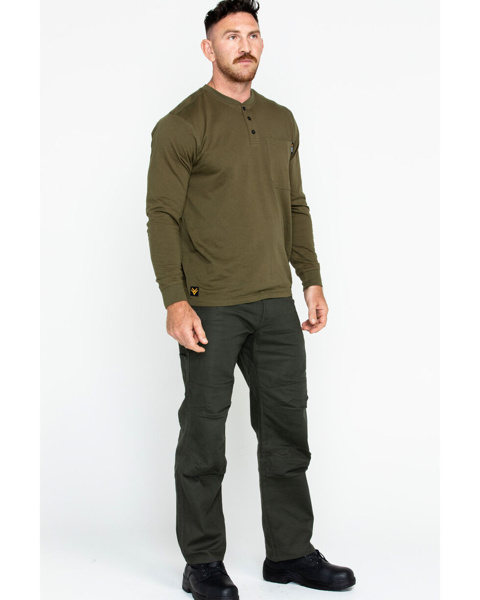 Hawx® Men's Pocket Henley Work Shirt , Olive, hi-res