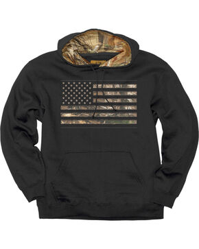 Buckwear Men's Real Tree Stars and Stripes Hoodie, Black, hi-res