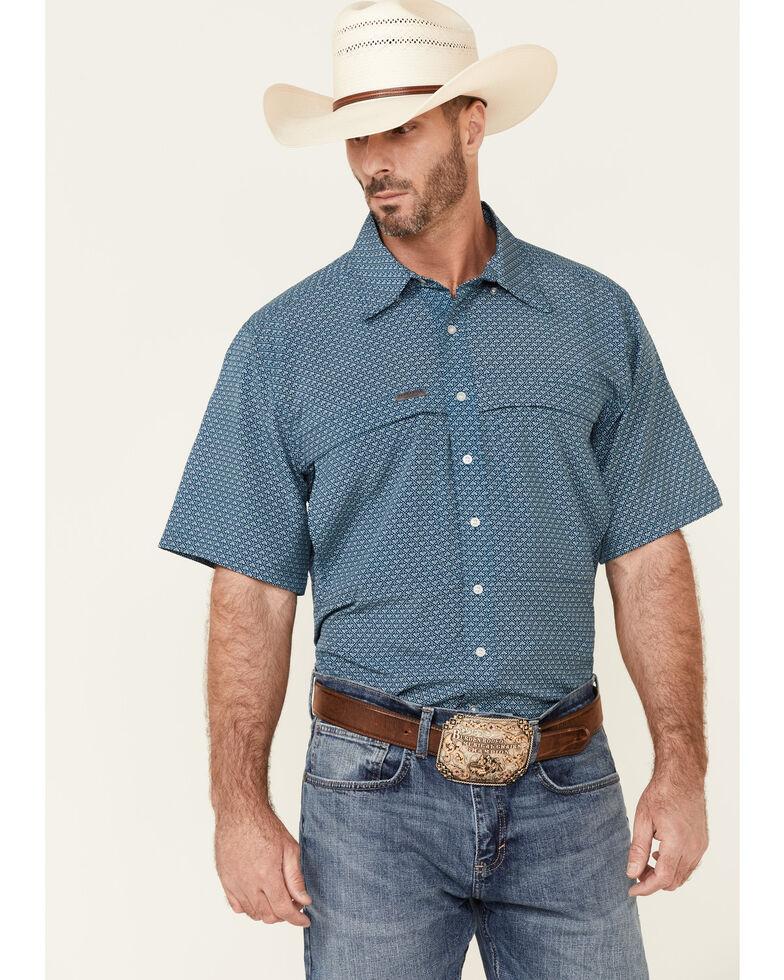 Panhandle Men's Blue Performance Arrow Geo Print Short Sleeve Button-Down Western Shirt , Blue, hi-res