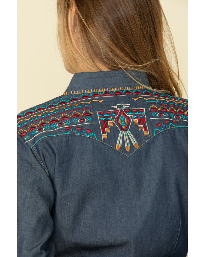 Rough Stock by Panhandle Women's Chambray Thunderbird Embroidered Long Sleeve Western Shirt, Blue, hi-res