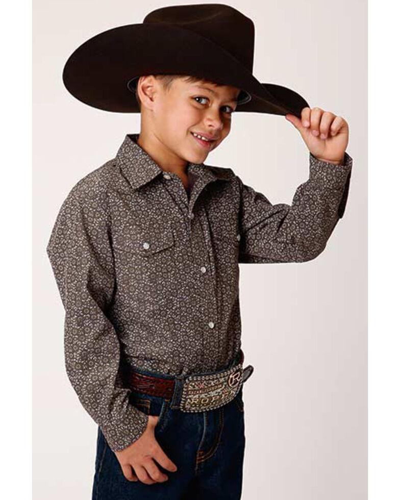 Roper Boys' Olive Cream Floral Print Long Sleeve Western Shirt , Grey, hi-res