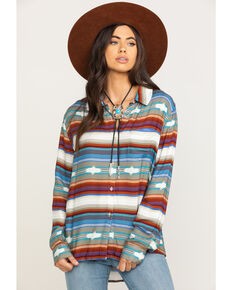 Stetson Women's Serape Print Button Long Sleeve Shirt , Multi, hi-res