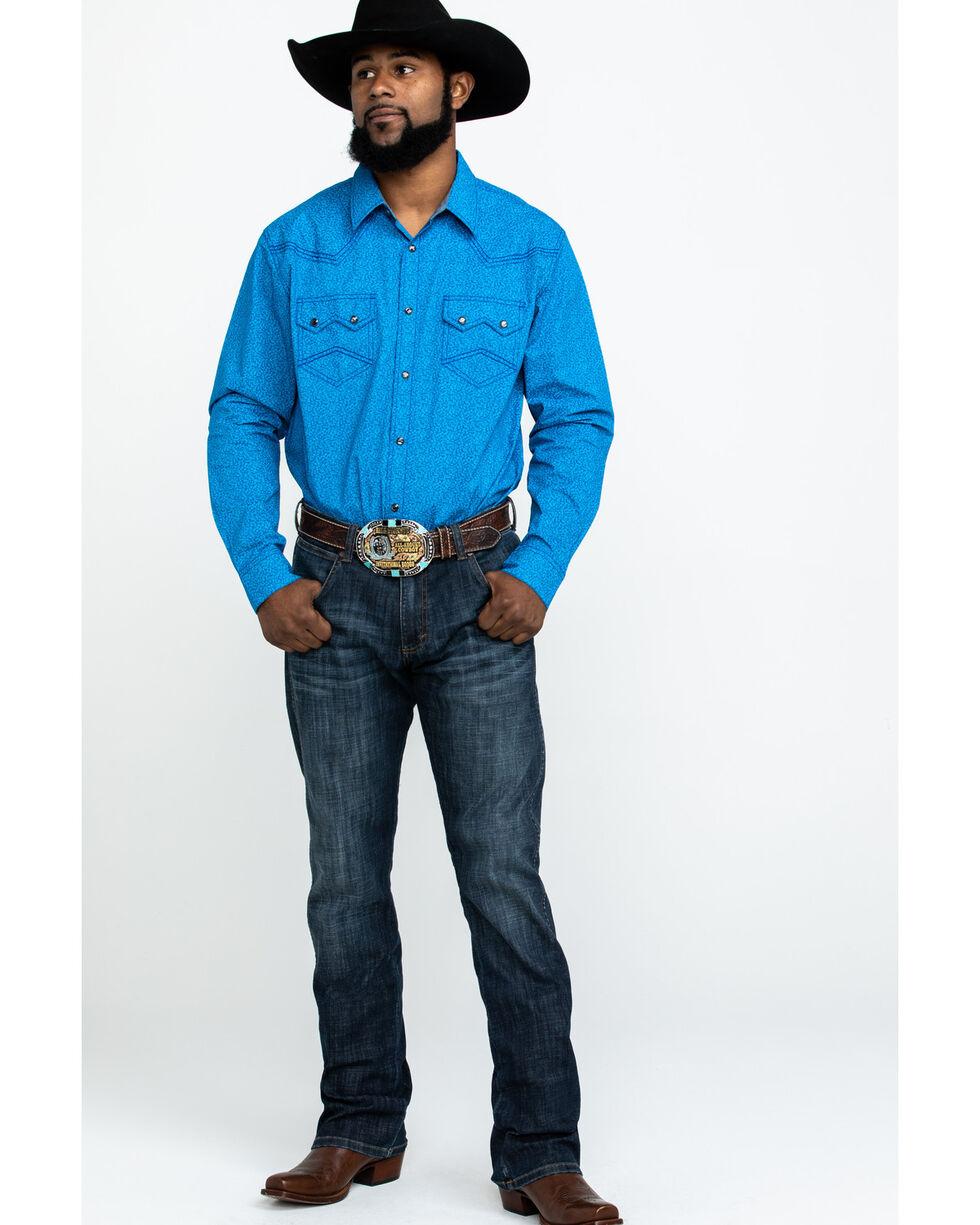 Cody James Men's Roy Larkspur Floral Print Long Sleeve Western Shirt , Royal Blue, hi-res