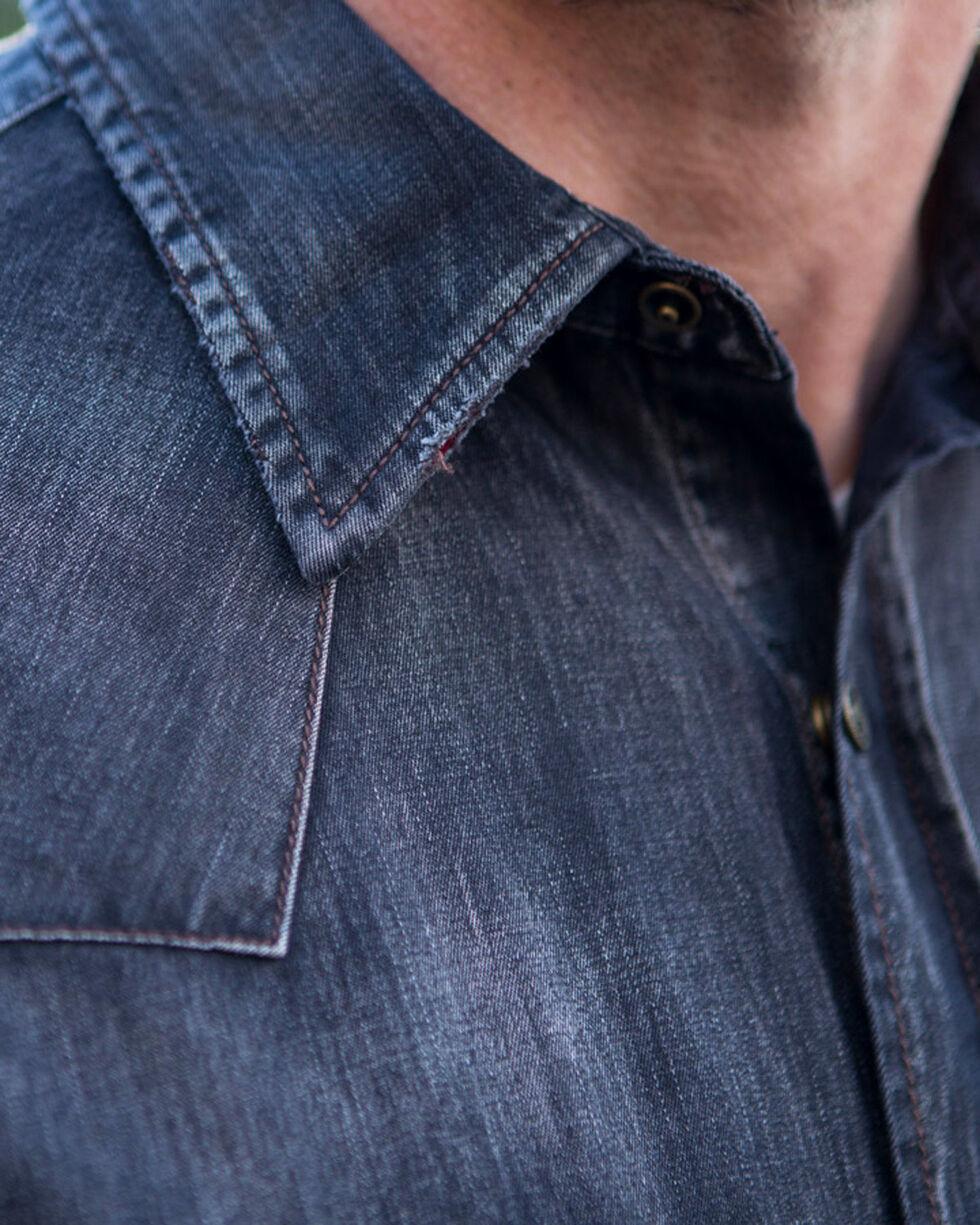Ryan Michael Men's Black Denim & Velvet Shirt , Black, hi-res