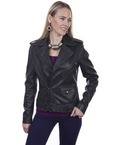 Leatherwear by Scully Women's Black Lamb Studded Motorcycle Jacket, Black, hi-res