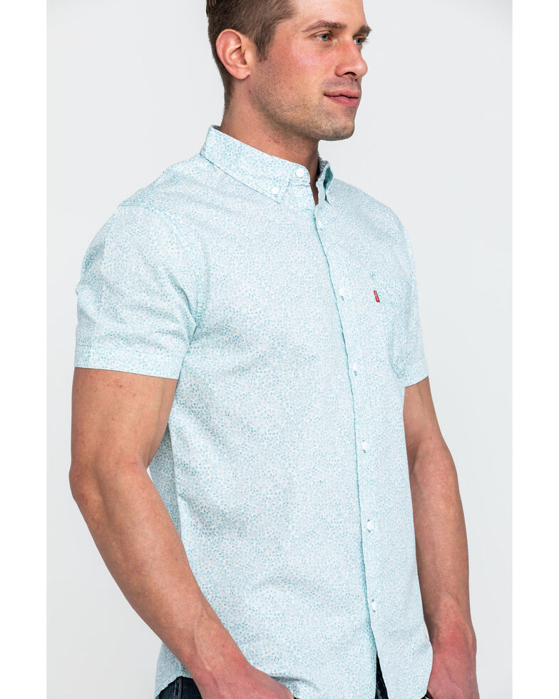 Levis Men's Teddy Poplin Print Short Sleeve Western Shirt , Blue, hi-res