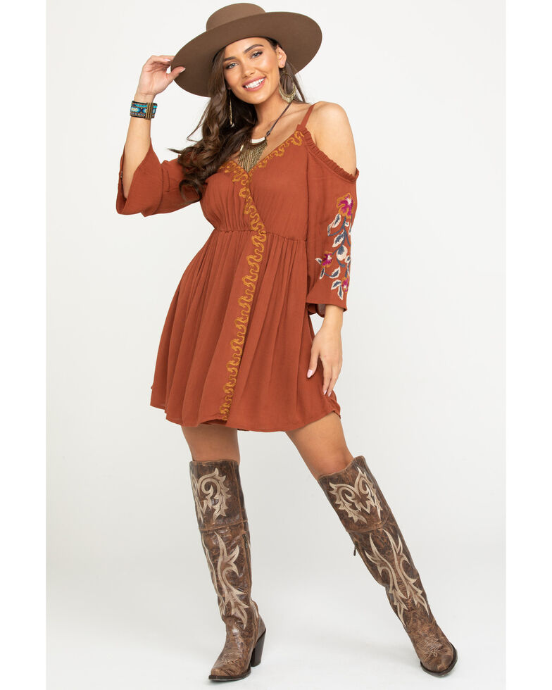 Shyanne Women's Embroidered Cold Shoulder Dress, Rust Copper, hi-res