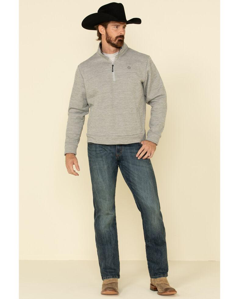 George Strait By Wrangler Men's Grey 1/4 Zip Relaxed Pullover Sweatshirt , Grey, hi-res
