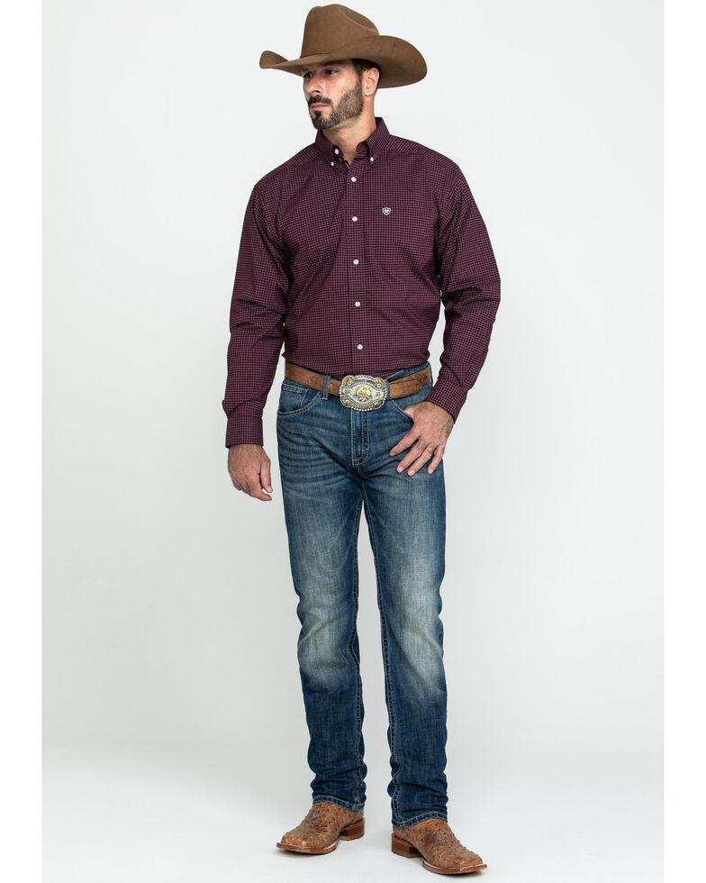Ariat Men's Fullerton Stretch Med Plaid Long Sleeve Western Shirt - Tall , Purple, hi-res