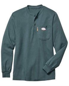 Rasco Men's Flame Resistant Green Henley Long Sleeve Work T-Shirt , Green, hi-res