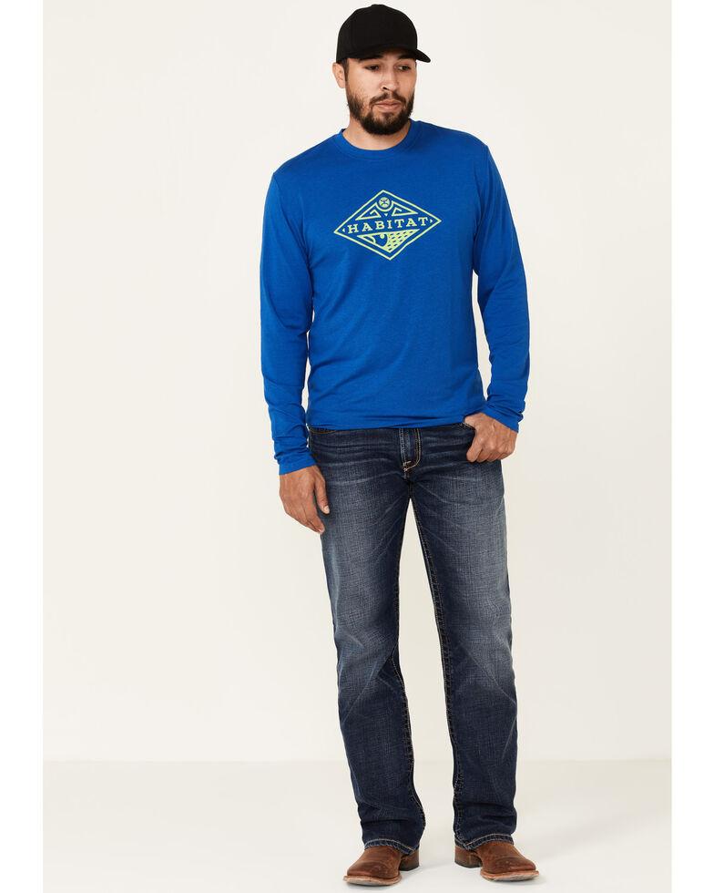 HOOey Men's Blue Habitat Bamboo Graphite Long Sleeve T-Shirt , Blue, hi-res