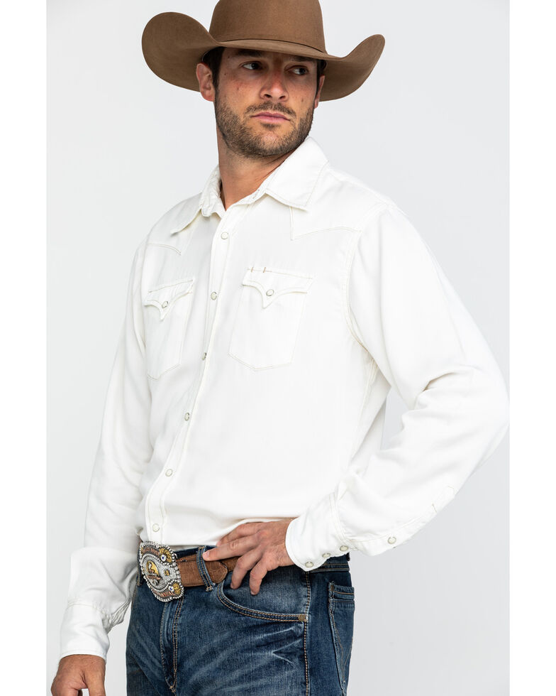 Stetson Men's Cream Tencel Twill Solid Long Sleeve Western Shirt , White, hi-res