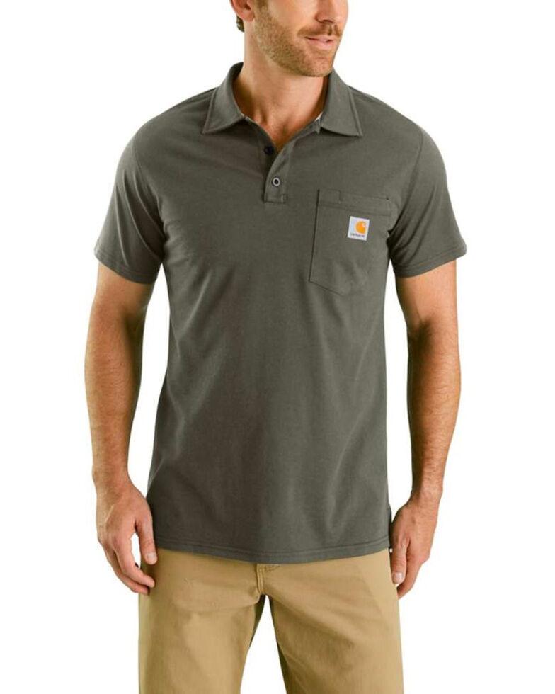 Carhartt Men's Grey Force Cotton Pocket Polo Work Shirt , Moss Green, hi-res