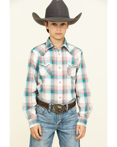 Ariat Boys' Quillbrook Retro Plaid Long Sleeve Western Shirt , Beige/khaki, hi-res