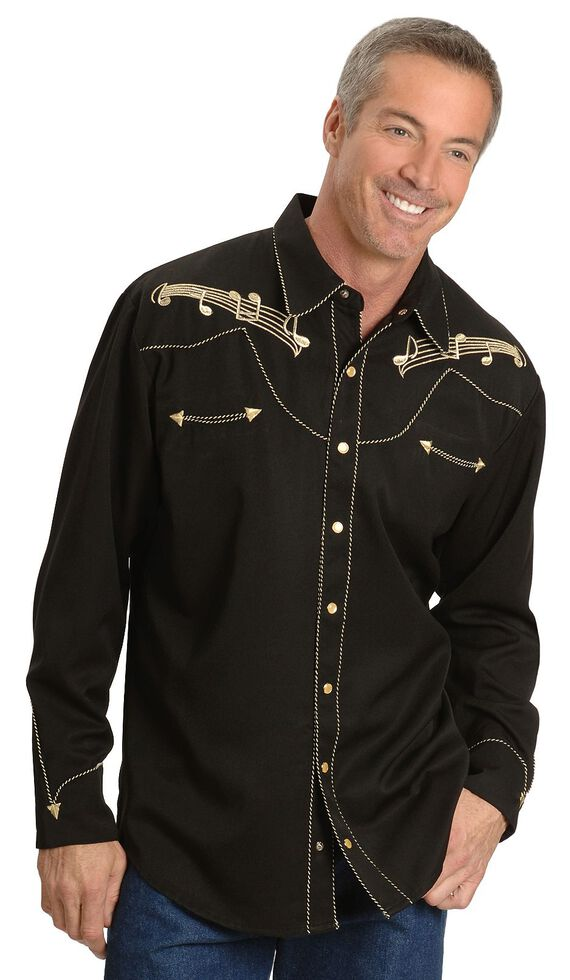 3abf1cba Zoomed Image Scully Music Note Embroidered Retro Western Shirt - Big & Tall,  Black, hi-