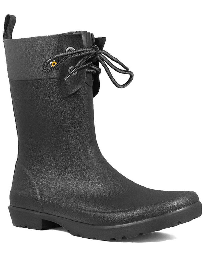 Bogs Women's Black Flora 2 Eye Rubber Boots - Round Toe, Black, hi-res