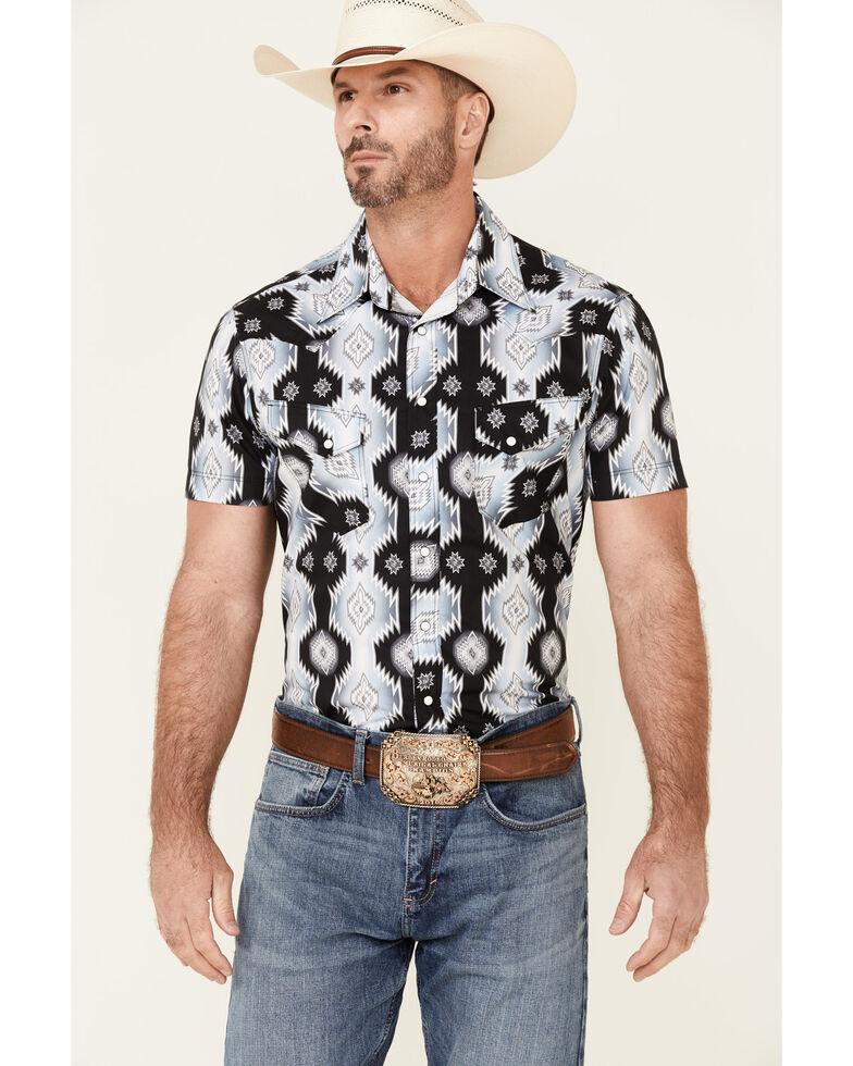 Rock & Roll Denim Men's All-Over Aztec Print Short Sleeve Snap Western Shirt , Black, hi-res