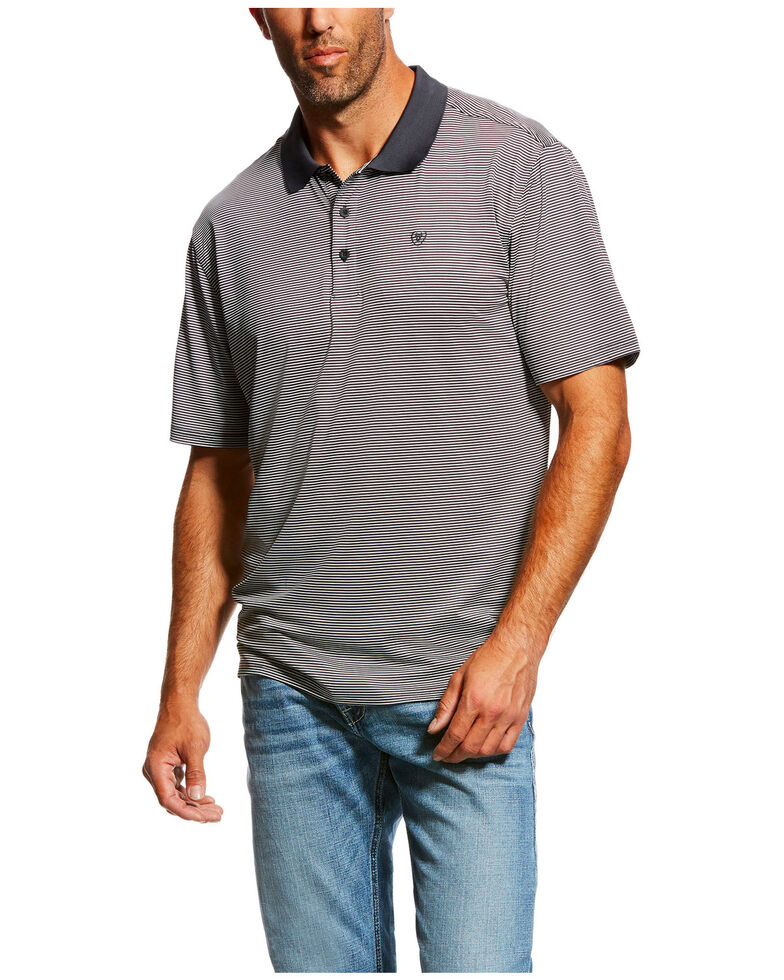 Ariat Men's Black TEK Micro Stripe Polo Shirt , Black, hi-res