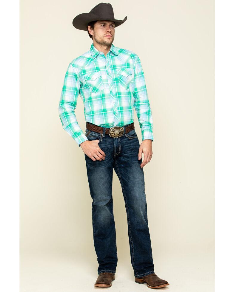 Wrangler 20X Men's Advanced Comfort Green Poplin Plaid Long Sleeve Western Shirt , Green, hi-res