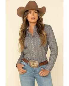 West Made Women's Grey Arrow Long Sleeve Western Shirt, Grey, hi-res