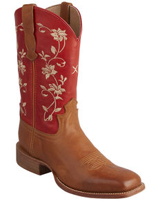 Twisted X Women's Floral Rancher Western Boots - Square Toe, Tan, hi-res