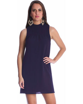 Wrangler Women's Sleeveless Smocked Neck Dress, Navy, hi-res