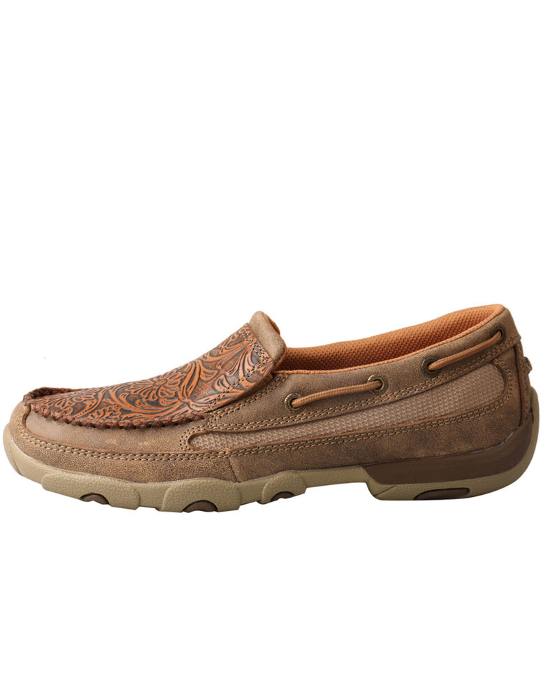 Twisted X Women's Tooled Slip-On Driving Moc Shoes - Moc Toe, Brown, hi-res