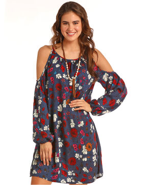 Rock & Roll Cowgirl Women's Cold Shoulder Floral Print Dress, Multi, hi-res