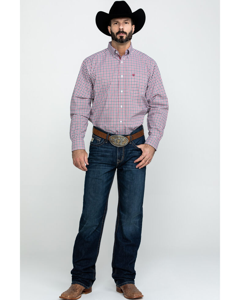 Ariat Men's Dagley Stretch Plaid Long Sleeve Western Shirt , White, hi-res