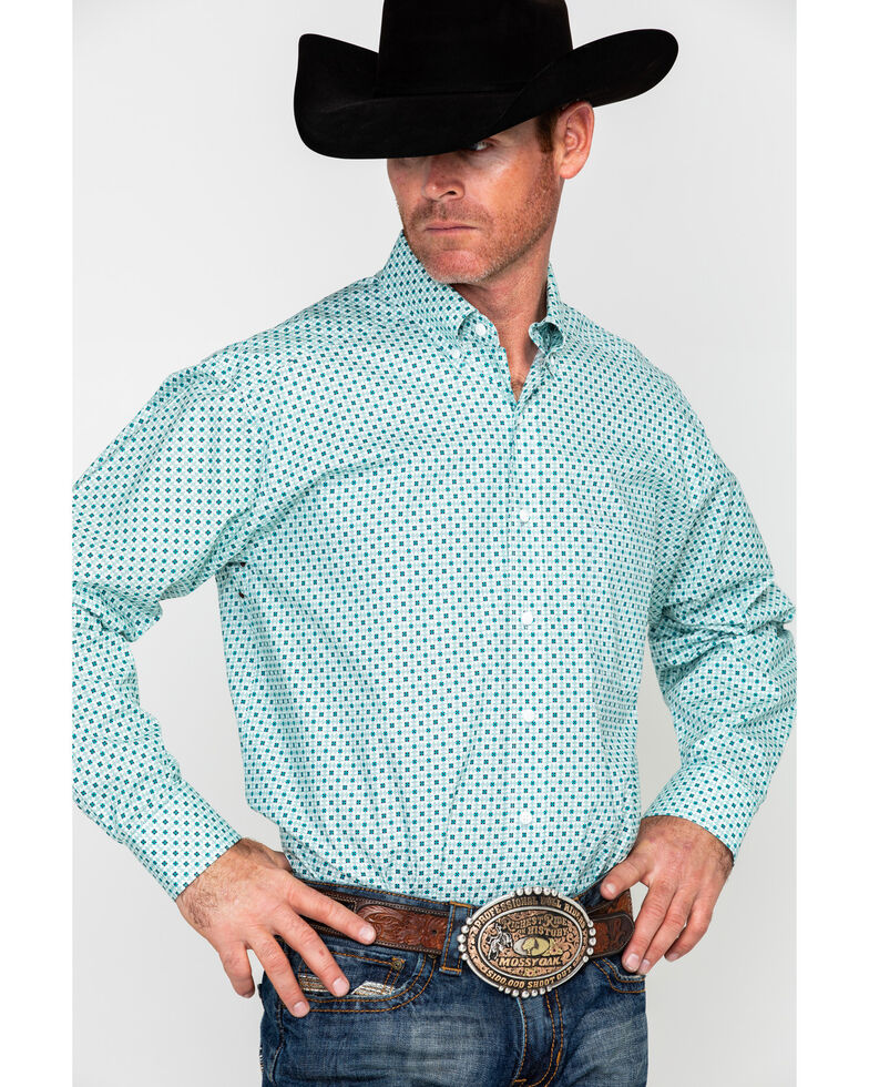 Tuf Cooper Men's Competition Stretch White Poplin Print Long Sleeve Western Shirt , White, hi-res