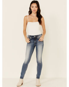 Miss Me Women's Fleur Feeling Skinny Jeans, Blue, hi-res
