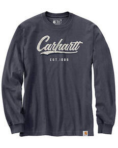 Carhartt Men's Bluestone Cursive Logo Heavyweight Long Sleeve Work T-Shirt , Blue, hi-res