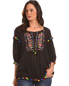 New Direction Sport Women's Pop Pop Trim Embroidered Top , Black, hi-res
