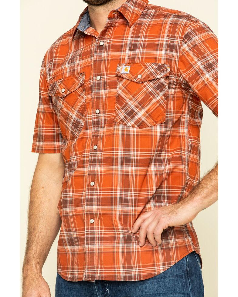 Carhartt Men's Harvest Orange Rugged Flex Bozeman Plaid Short Sleeve Work Shirt - Big , Orange, hi-res