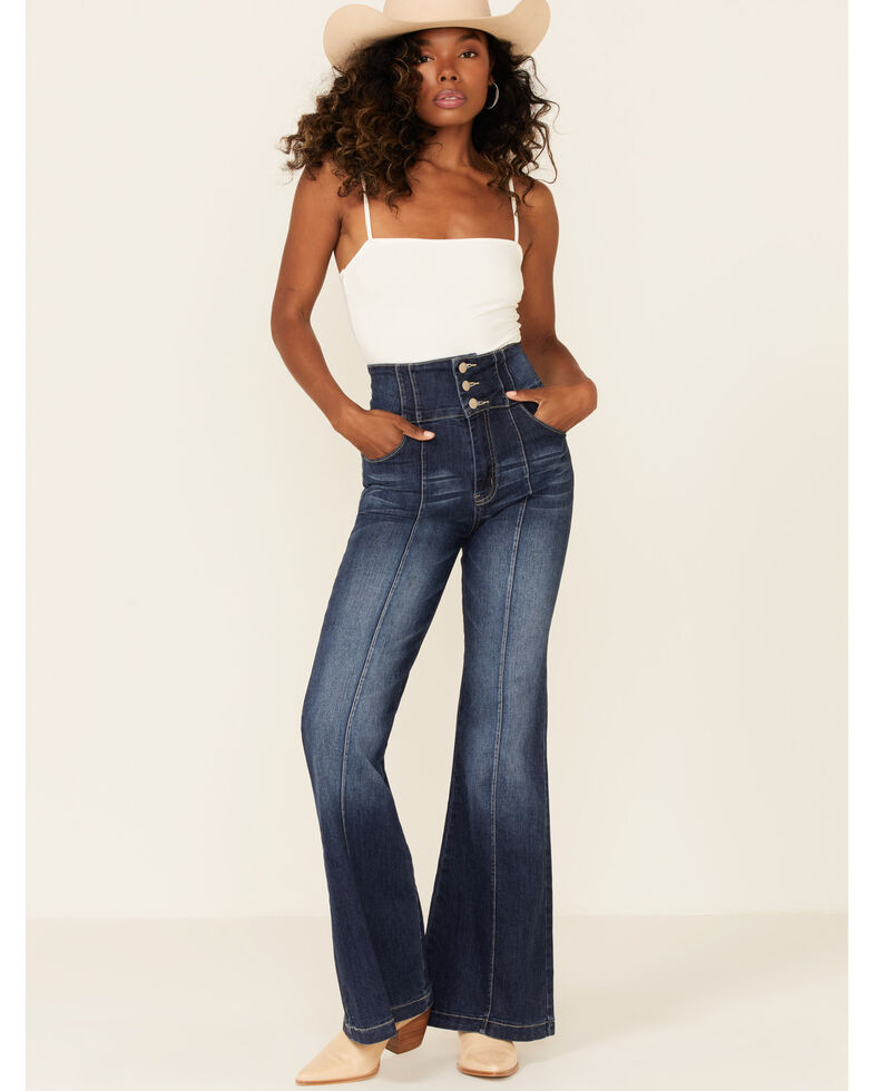 Flying Tomato Women's Medium Wash High Rise Button Front Flare Jeans , Blue, hi-res
