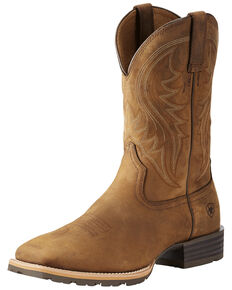 Ariat Men's Distressed Brown Hybrid Rancher Cowboy Boots - Square Toe, Brown, hi-res