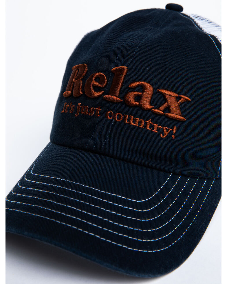 Shyanne Women's Relax It's Just Country Mesh Ball Cap , Blue, hi-res