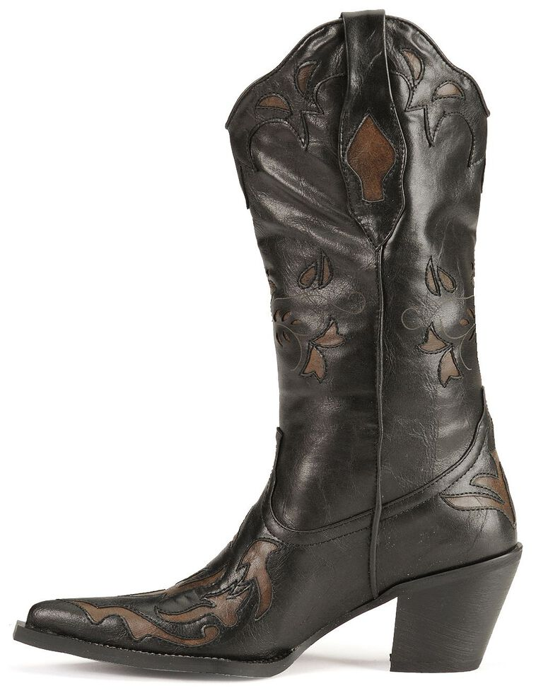 Roper Vintage Inlay Cowgirl Boots, Black, hi-res