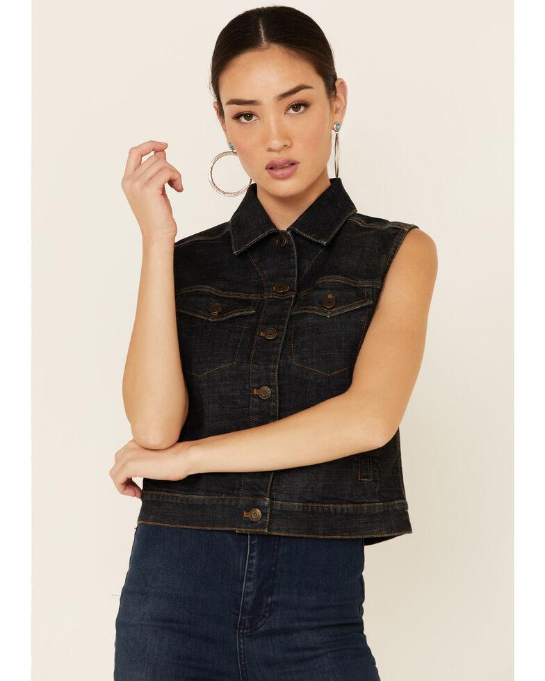 Pendleton Women's Aztec Embroidered Button-Down Denim Vest , Blue, hi-res