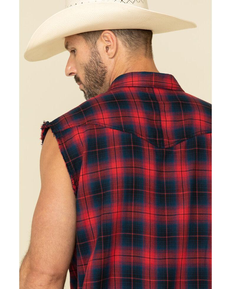Cody James Men's Hillbilly Bubba Plaid Sleeveless Snap Western Shirt , Blue, hi-res