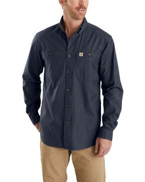 Carhartt Men's Rugged Flex Rigby Long Sleeve Work Shirt, Navy, hi-res