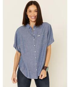 Wrangler Modern Women's Chambray Button Short Sleeve Western Shirt, Blue, hi-res