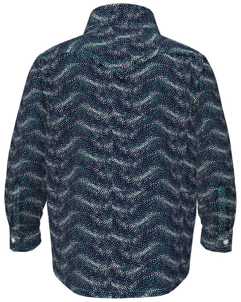 Wrangler Infant Boys' Navy Woven Print Long Sleeve Snap Western Shirt , Navy, hi-res