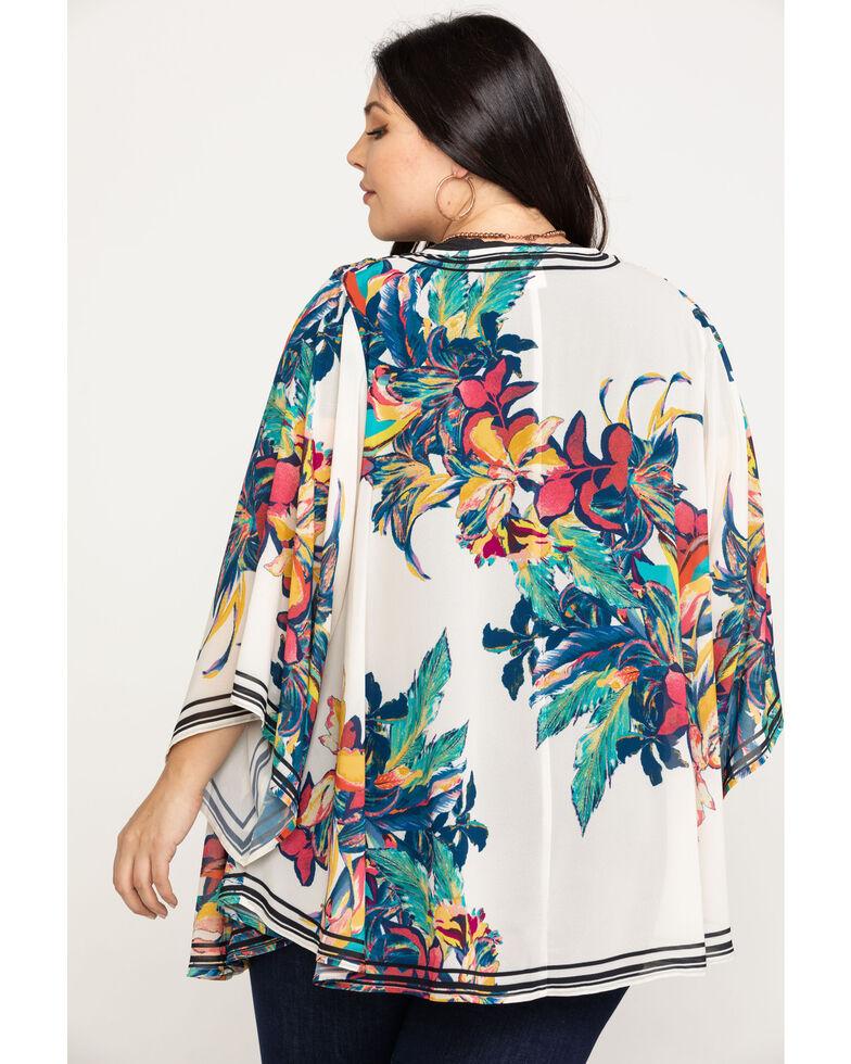 Flying Tomato Women's Floral Kimono - Plus, Ivory, hi-res