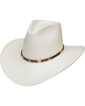 Stetson Men's Silver Horn 8X Straw Cowboy Hat, Natural, hi-res