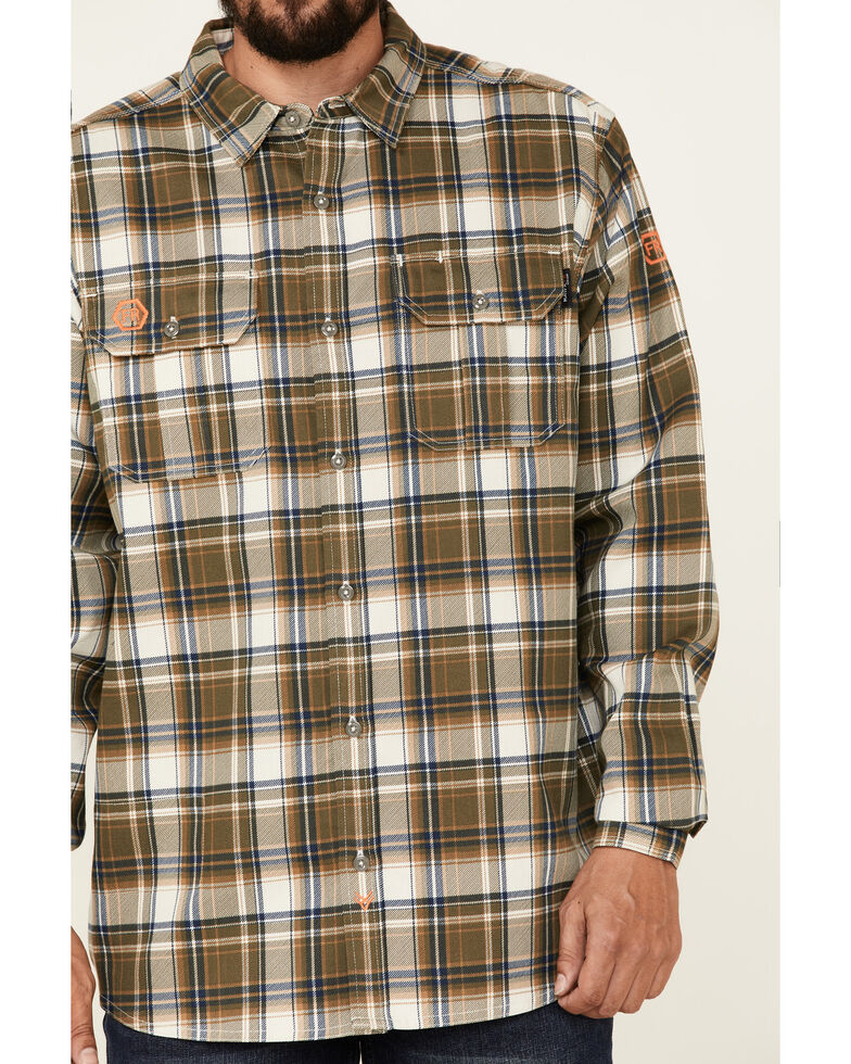 Hawx Men's FR Olive Woven Plaid Long Sleeve Button-Down Work Shirt , Olive, hi-res