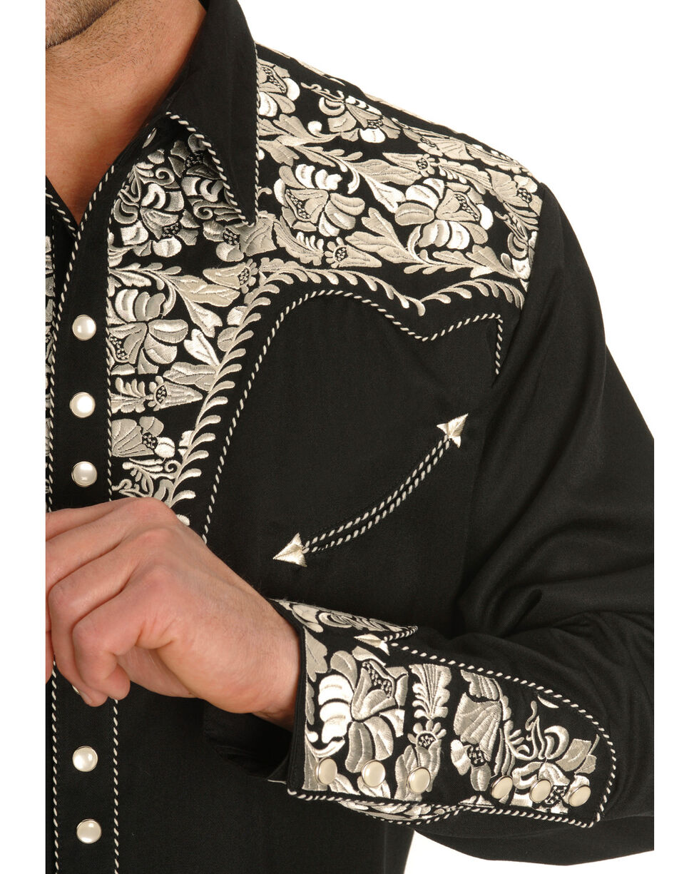 Scully Men's Silver Embroidered Gunfighter Shirt, Silver, hi-res