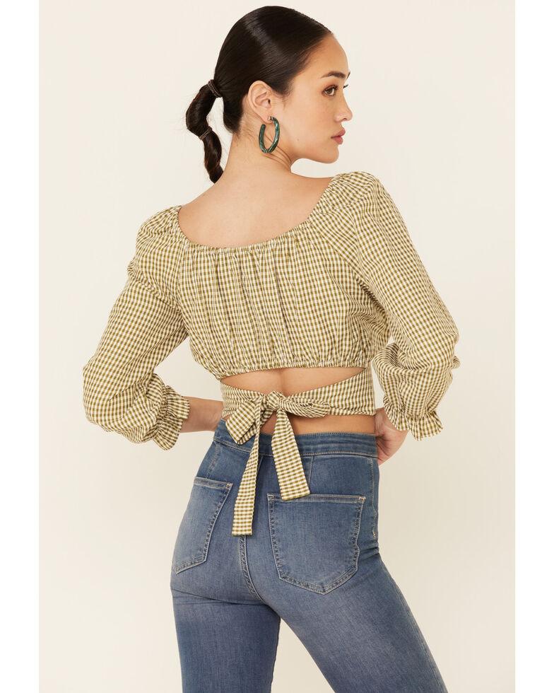Beyond The Radar Women's Olive Gingham Back Tie-Up  Long Sleeve Crop Top, Olive, hi-res