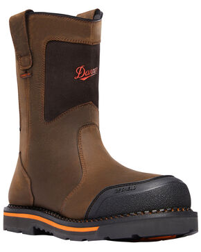 Danner Men's Brown Trakwelt Wellington Waterproof Boots - Round Toe , Brown, hi-res